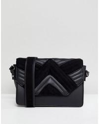 schwarze gesteppte Leder Umhängetasche von Pimkie