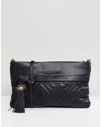 schwarze gesteppte Leder Umhängetasche von Versace Jeans