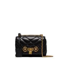 schwarze gesteppte Leder Umhängetasche von Versace