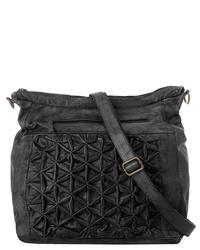 schwarze gesteppte Leder Umhängetasche von X-ZONE