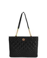 schwarze gesteppte Lederhandtasche von Versace