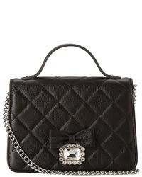 schwarze gesteppte Satchel-Tasche aus Leder
