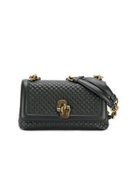 schwarze gesteppte Satchel-Tasche aus Leder von Bottega Veneta