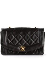 schwarze gesteppte Satchel-Tasche aus Leder von Chanel