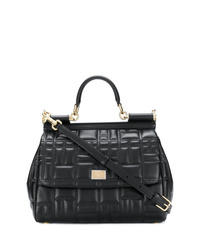 schwarze gesteppte Satchel-Tasche aus Leder von Dolce & Gabbana