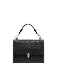 schwarze gesteppte Satchel-Tasche aus Leder von Fendi