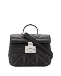 schwarze gesteppte Satchel-Tasche aus Leder von Furla