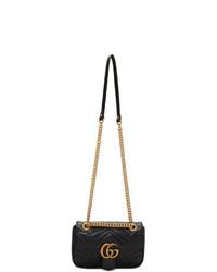 schwarze gesteppte Satchel-Tasche aus Leder von Gucci