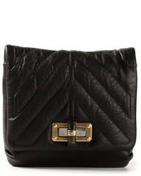 schwarze gesteppte Satchel-Tasche aus Leder von Lanvin