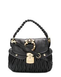 schwarze gesteppte Satchel-Tasche aus Leder von Miu Miu