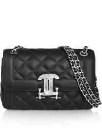 schwarze gesteppte Satchel-Tasche aus Leder von Moschino