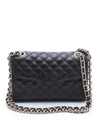 schwarze gesteppte Satchel-Tasche aus Leder von Rebecca Minkoff