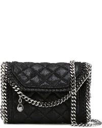 schwarze gesteppte Satchel-Tasche aus Leder von Stella McCartney