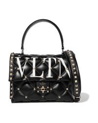 schwarze gesteppte Satchel-Tasche aus Leder von Valentino