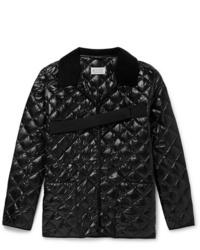 schwarze gesteppte Shirtjacke von Maison Margiela