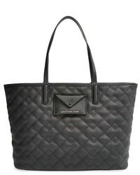 schwarze gesteppte Shopper Tasche aus Leder