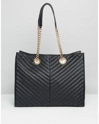 schwarze gesteppte Shopper Tasche aus Leder von Asos