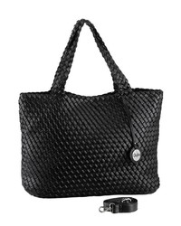 schwarze gesteppte Shopper Tasche aus Leder von Buffalo