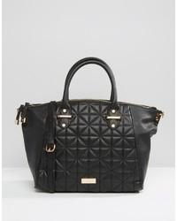 schwarze gesteppte Shopper Tasche aus Leder von Lipsy