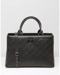 Schwarze gesteppte Shopper Tasche aus Leder von Marc B