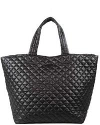 schwarze gesteppte Shopper Tasche aus Nylon