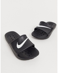 schwarze Gummi flache Sandalen von Nike