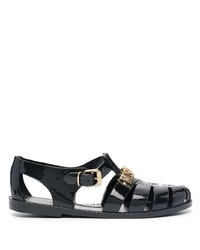 schwarze Gummi Sandalen von Moschino