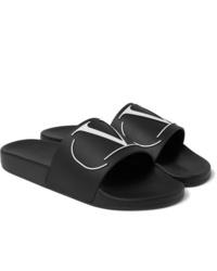 schwarze Gummi Sandalen von Valentino