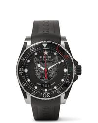schwarze Gummi Uhr von Gucci