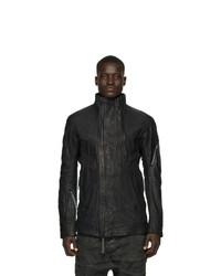 schwarze Harrington-Jacke aus Leder von Boris Bidjan Saberi