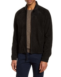 schwarze Harrington-Jacke aus Wildleder