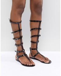 schwarze hohe Römersandalen aus Leder von ASOS DESIGN