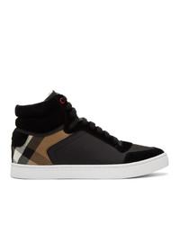 schwarze hohe Sneakers aus Leder mit Karomuster von Burberry