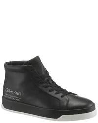 schwarze hohe Sneakers aus Leder von Calvin Klein