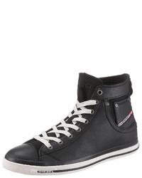 schwarze hohe Sneakers aus Leder von Diesel