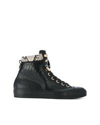 schwarze hohe Sneakers aus Leder von Giuliano Galiano