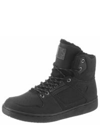 schwarze hohe Sneakers aus Leder von HIS JEANS