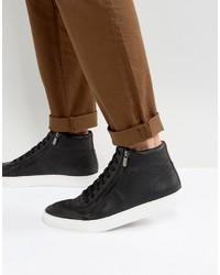 schwarze hohe Sneakers aus Leder von Hugo Boss