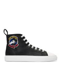 schwarze hohe Sneakers aus Leder von Moschino