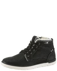 schwarze hohe Sneakers aus Leder von PETROLIO