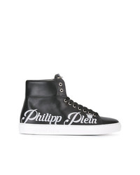 schwarze hohe Sneakers aus Leder von Philipp Plein