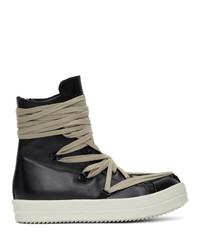 schwarze hohe Sneakers aus Leder von Rick Owens
