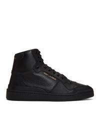 schwarze hohe Sneakers aus Leder von Saint Laurent