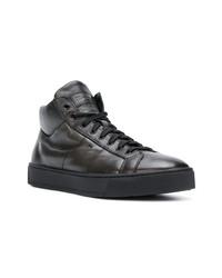 schwarze hohe Sneakers aus Leder von Santoni