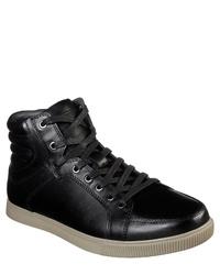 schwarze hohe Sneakers aus Leder von Skechers