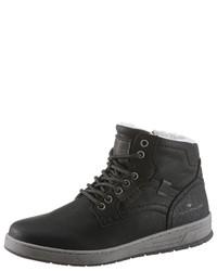 schwarze hohe Sneakers aus Leder von Tom Tailor