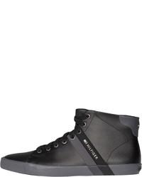 schwarze hohe Sneakers aus Leder von Tommy Hilfiger