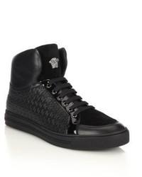 Schwarze Hohe Sneakers aus Leder von Versace