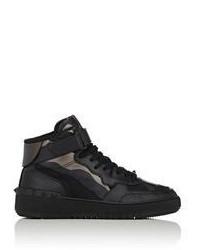schwarze hohe Sneakers aus Segeltuch