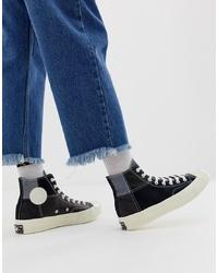 schwarze hohe Sneakers aus Segeltuch von Converse